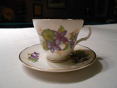 Bone China Cup And Saucer Set, Violets, Crown Trent, Staffordshire, England