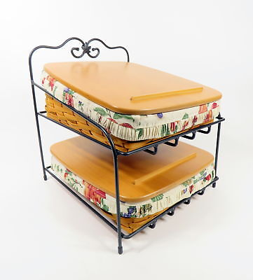 Longaberger Foundry Collection Wrought Iron 2 Tier Paper Try Stand Tapered Combo