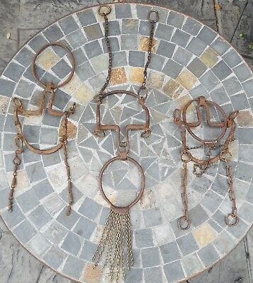 Three Old Antique Mexican Ring Bits