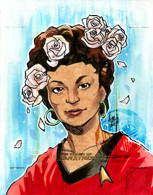 WOMEN OF STAR TREK Sketch Card IRMA AIMO AHMED Artist Return AP UNCUT Uhura