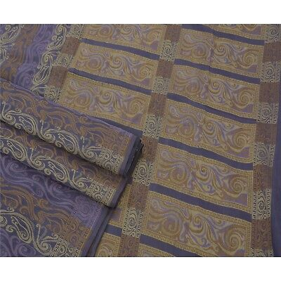 Sanskriti Antique Vintage Saree Pure Silk Woven Blue Fabric Premium 5 Yard Sari