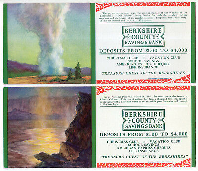 4 Berkshire County Savings Bank Ink Blotters, Geyser, Volcano, Sequoia, Yosemite
