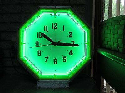1950's VINTAGE NEON PRODUCTS INC - ORIGINAL OCTAGON CLOCK