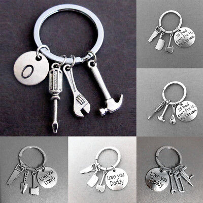 "Mini Tools Pendant Keyring ""If Dad Can't Fix It No One Can"" Keychain Widget Gift"