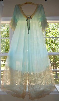 "vintage Movie Star sheer peignoir 17"" lace long robe double nylon dressing gown"