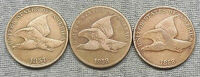 Lot Of 3 Flying Eagle Small Cents - 1857, 1858 SL & 1858 LL