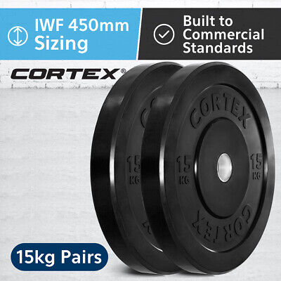 CORTEX Olympic Rubber Bumper Plates in Pairs 15kg IWF 450mm Diameter