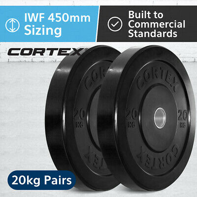 CORTEX Olympic Rubber Bumper Plates in Pairs 20kg IWF 450mm Diameter