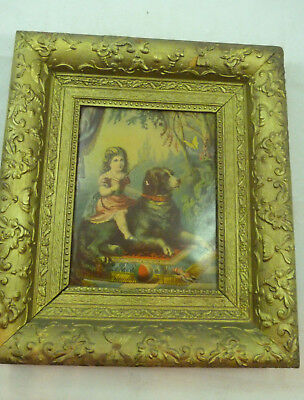 Antique Litho Art Little Girl Sitting on Dog Vintage Lithograph Gold Frame