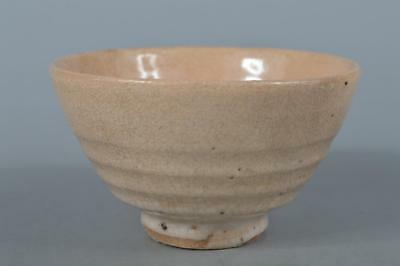 M2992: Korean Joseon Dynasty Buncheong White glaze TEA BOWL Green tea tool