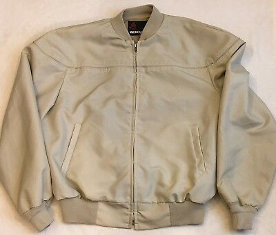 American Jac Men's L Bomber Jacket Tan Ribbed knit waist cuffs Made In USA
