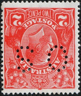 *EOFY SPECIAL*   KGV 2d SINGLE OS #INVERTED#  WATERMARK, DAMAGED CROWN,  BW 96a