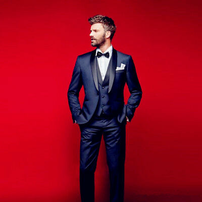 Cly Navy Blue Wedding Tuxedos Slim Fit Suits For Men Groomsmen Formal