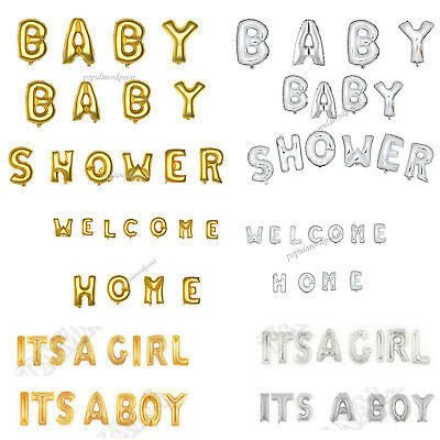 """16"""" Gold/Silver Foil Balloons Letter 'BABY SHOWER''ITS A GILR''ITS A BOY' Banner"""