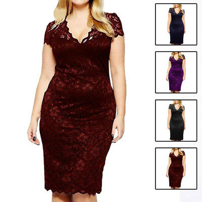 b25e6e686d5 Plus Size XL-5XL Women Elegant Dress Sexy V Neck Floral Lace Evening Party  Dress