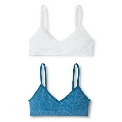 Girls Hanes Training Bras Bralettes Hanes Blue and White Pack of 2 Various Sizes