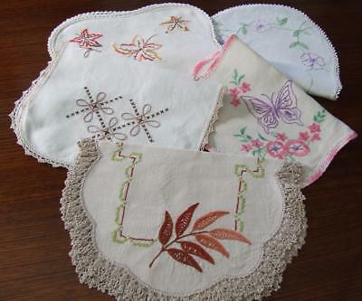 Five Beautiful Hand Embroidered Vintage Centres - Various Designs, Crochet Edges