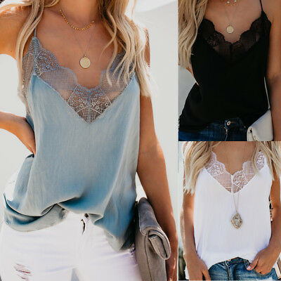 Fashion Women Lace Tops V Neck Camisole Sleeveless Tank Beach Blouse Shirt