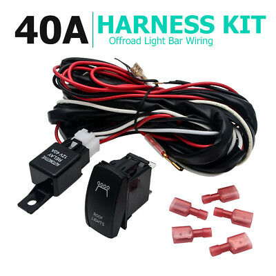 12V LED HID Spot Work Driving Light Bar Wiring Kit Harness Loom Switch Relay A03