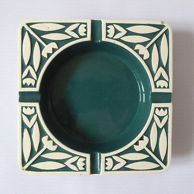 Hornsea vintage 60s square ashtray dish. White flowers & green colour inlay.