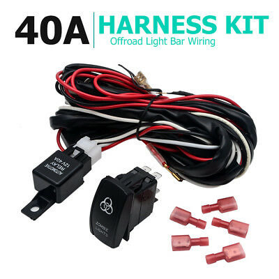 12V LED HID Spot Work Driving Light Bar Wiring Kit Harness Loom Switch Relay A05
