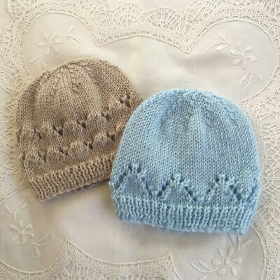 * 2 Premature (5lb) * Baby Beanies  * Taupe & Pale Blue * Aust Hand Knitted *