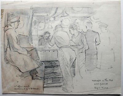 Laurence Dunn (1909-2006) Drawing. H.M.S Gabbard. Midnight plot WWII. Bay Biscay