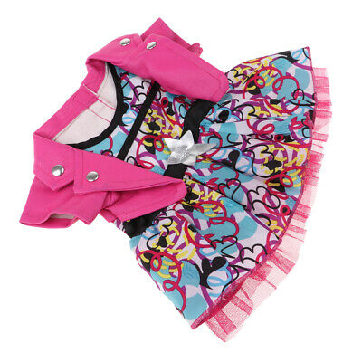 Doll Clothes False Two-Piece Flower Printed Skirt forAmeircan Girl Doll Pink