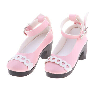 Doll Accessory Thick Heel Shoes Pink Leather Shoes For 1/3 BJD Dolls