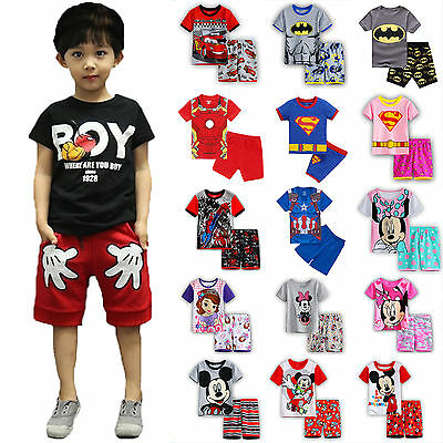 Kids Boy Girl Summer Cartoon Clothes Short Sleeve T Shirt Super Hero Outfits Set