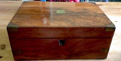 Antique Brass Mounted Wooden Writing Box/for Restoration/Original Glass Inkwell