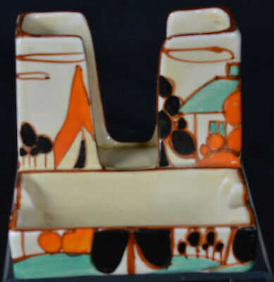 """Clarice Cliff Fantasque """"Trees and House"""" orange Shape 420"""