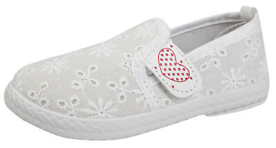 Girls Slip On Canvas Pumps Plimsolls Toddlers Beach Summer Shoes Trainers Size
