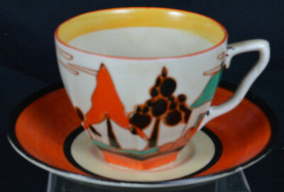 """Clarice Cliff Fantasque """"Trees and House"""" (red) cup and saucer"""