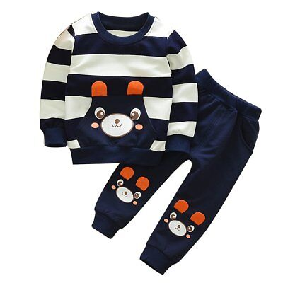 Toddler Baby Boys Winter Warm Clothes Hoodie Sweatshirt Tops+Pants Outfits Set
