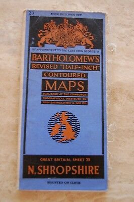 Bartholomews Vintage 'North Shropshire' Half Inch Contoured Map/Poster on Cloth