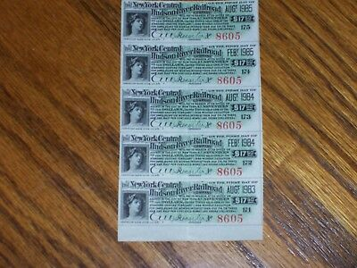 New York Central and Hudson River Bond Coupons. Sheet of 20. Green