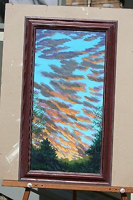 vtg orig painting drawing skyscape clouds sunset collectible art