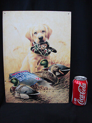 Vintage LYNN R. KAATZ  Metal Sign Golden Retriever Pup W/ Purina & Decoys ©1997