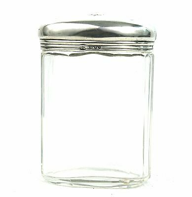 Antique Victorian Sterling Silver Glass Dressing Vanity Jar Oval London 1890