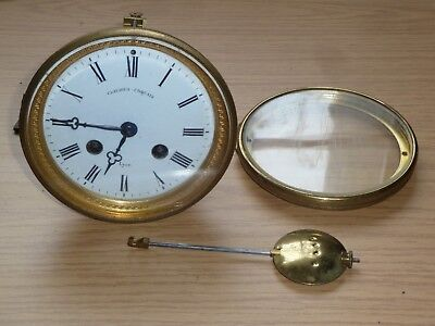 Antique French striking clock movement pendulum & door - good working order