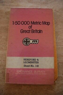 Vintage Ordnance Survey Metric 'Hereford & Leominster' Laminated Map/Poster