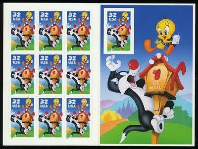Sylvester and Tweety Full Pane of Ten 32 Cent Stamps - USPS - Scott 3204