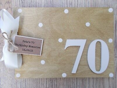 Personalised 70Th Birthday Wooden Guest Book Any Wording Any Age