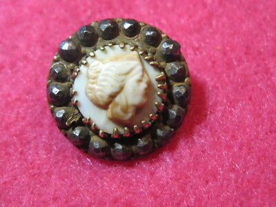 Antique Button: Cameo Cowrie Shell in Metal and Steel