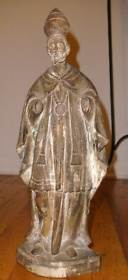 Antique Late 18th Century Carved Wood Figure of a Bishop St Augustine