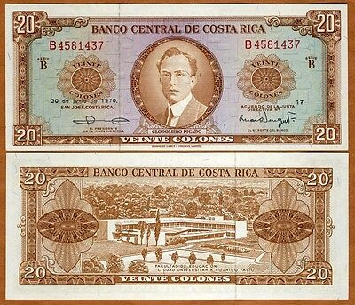 Costa Rica, 20 Colones, 1970, P-231, UNC > Scarce