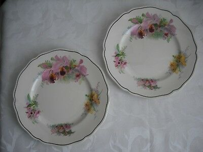 """2 Vintage Royal Doulton """"orchid"""" Plates Lovely Floral Plates In Vibrant Colours"""