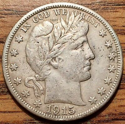 1915 S Silver United States Barber Half Dollar Coin Very Fine+ Condition
