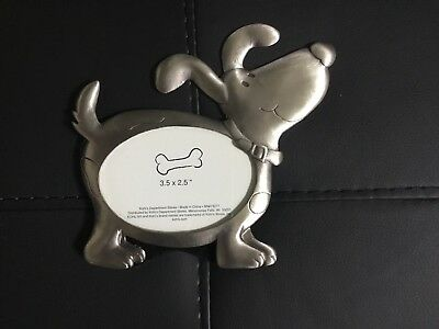 New Silver Metal Picture Frame, Dog Shape, photo size 3.5 x 2.5